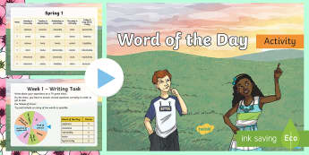 Year 3 Spring 1 Word of the Day PowerPoint - vocabulary, writing, nouns, adjectives, adverbs, verbs, multisyllabic words, creative writing.