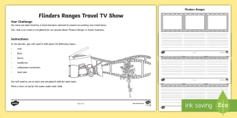 Australian States and Territories – Flinders Ranges TV Show Storyboard Activity - Year 3, ACHASSK066, geography, Australian curriculum, conservation, South Australia, lesson, researc