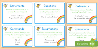 Types of Sentences Prompt Cards - cards, prompt, sentences, exclamation, command, question