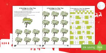 Partridge In A Pear Tree Activity Sheet English/Hindi - Christmas Maths, partridge, pear tree, Twelve Days of Christmas maths, find, solve, reason, reasonin