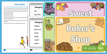 Race to the Shops Resource Pack - Shopping, shops, Physical Development, sweet shop, garden shop, bakers shops, toy shop, run, walk, s