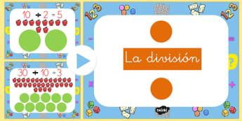 La división Presentación - powerpoint, dividir,,Spanish