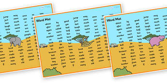 Safari Themed Word Mat KS1 - safari, on safari, safari word mat, safari KS1 word mat, safari themed word mat, themed word mat, high frequency word mat