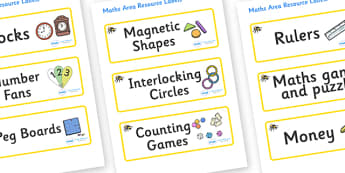 Bumble Bee Themed Editable Maths Area Resource Labels - Themed maths resource labels, maths area resources, Label template, Resource Label, Name Labels, Editable Labels, Drawer Labels, KS1 Labels, Foundation Labels, Foundation Stage Labels, Teaching