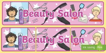 Beauty Salon Display Banner - Salon, role play, beauty salon, make up, nails, hair dressing up, play