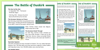 KS2 The Battle of Dunkirk  Differentiated Fact File - Dunkirk Spirit, Churchill, Nazi, Germany, World War 2, France, Belgium, Second World War, reading co