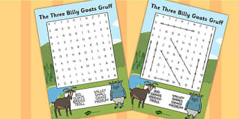 The Three Billy Goats Gruff Wordsearch - wordsearch, billy goats