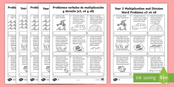 Year 3 Multiplication and Division Word Problems x3 x4 x8 Activity Sheets English/Spanish - KS2 Maths, word problems, multiplication tables, times tables, 3x, 4x, 8x, division, worksheet, acti