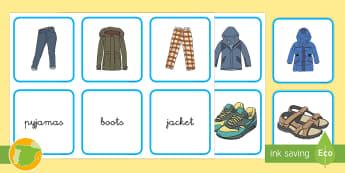Tarjetas de emparejar: La ropa - Inglés - clothes, english, lengua extranjera, cards, matching, Spanish-translation
