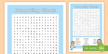 Computing Giants Word Search - wordsearch, ks2, computing, vocabulary, personality, name, achievement