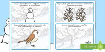 Winter Playdough Mats - English/German -  penguin, huskey, snow, winter, frost, EAL, German, English-German,,German-translation