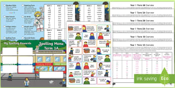 Year 1 Building Brick Themed  Spelling Menu Pack - lego, zapper, weekly, lists, spelling test, home learning, common exception words, phase 3, homophon