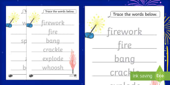 Firework Sound Word Tracing Worksheet / Activity Sheet