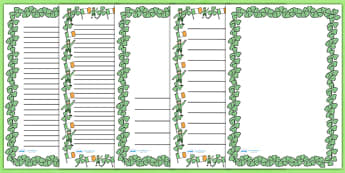 St. Patricks Day A4 Page Borders - St Patricks Day, page border, border, writing template, writing aid, writing, Ireland, Irish, St Patrick, patron saint, leprechaun, 17 march