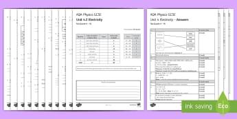 AQA Physics (Trilogy) Unit 4.2 Electricity Test - KS4 Assessment, Test, physics, electricity, unit 4.2, equations