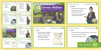 Green Willow Story Cards - KS2, Take It Outside, Summer, Green WIllow, story prompts,  folk tale, listening, outdoor, woodland learning, twinkl outdoor and woodland learning owl get it