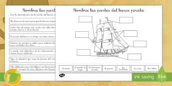 * NEW * Ficha de actividad: Las partes del barco pirata - Pirata, piratas, tesoro, tesoros, aventura, aventuras, mar, marítimo, islas, isla, isla del tesoro,