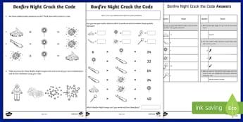 Bonfire Night Crack the Code Activity - bonfire night, crack the code, crack, code, activity, lesson, fireworks