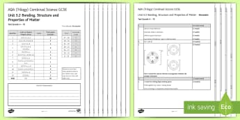 AQA  Combined Science (Trilogy) Unit 5.2 Bonding, Structure and Properties of Matter Assessment Test - KS4 Assessment, Test, bonding, structure, C2, unit 5.2, topic 5.2, properties, properties of matter,