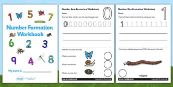 Number Formation Workbook (Minibeasts) - Handwriting, overwriting, minibeasts, number formation, number writing practice, workbook, foundation, numbers, foundation stage numeracy, writing, learning to write, knowledge and understanding of the world,