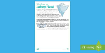 Why Does an Iceberg Float? Explanation Writing Sample - Literacy, Why Does an Iceberg Float? Explanation  Writing Sample, explanations, writing, text types,