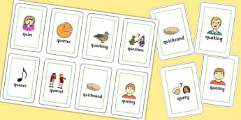 Two Syllable QU Flash Cards - speech sounds, phonology, articulation, speech therapy, cluster reduction