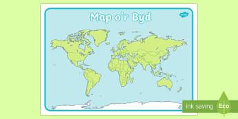 Map o'r Byd - WL Diwrnod Dŵr y Byd (World Water Day 22.3.17), Map o'r Byd,Welsh