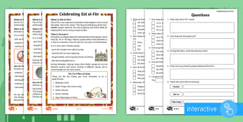 KS1 Eid al-Fitr Differentiated Comprehension Go Respond  Worksheet / Activity Sheets -  islam, muslim,, festival, ramadan, religion, culture