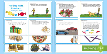 Two-Step Word Problems Challenge Cards - Multiplication, division, word problems, two step problems, multistep problems, problem solving,