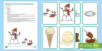 Melting Hot and Cold Concept Busy Bag Resource Pack for Parents - Early Concepts, heat, ice, frozen,