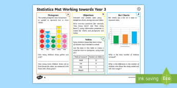 Year 3 Statistics Differentiated Maths Mat - Data Handling, bar chart, pictogram, tables, questions