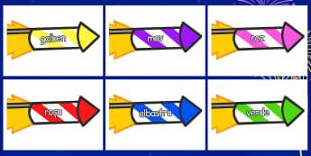 Culori - Jetoane cu artificii - culori, jetoane, artificii, anul nou, cuvine, vocabular, materiale, materiale didactice, română, romana, material, material didactic