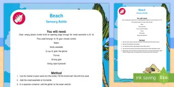 Beach Sensory Bottle - Beach, Ocean, Beach Sensory Bottle, Sensory Bottle, Beach Habitat, Ocean Habitat.