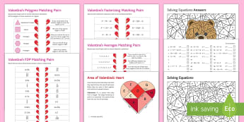 Valentine's Day Maths Activity Pack - Colouring, Area, Matching pairs, Factorising, Averages, Polygons, Fractions, Decimals Percentages, F