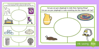 Rhyming Playdough Mats - Phase 1, Aspect 4, Rhythm, Rhyme, letters and sounds, phonics, rhyming,  rhyme, fine motor, play doh
