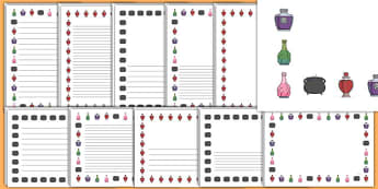 Halloween Potions Page Borders Portrait - writing, writing aid