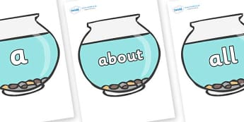 100 High Frequency Words on Fish Bowls - High frequency words, hfw, DfES Letters and Sounds, Letters and Sounds, display words