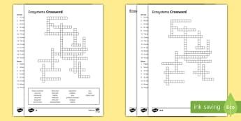 KS3 Ecosystems Crossword
