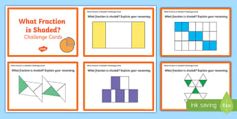 Year 2 What Fraction Is Shaded? Challenge Cards