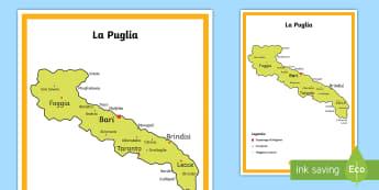 Scuola Primaria: La Puglia Cartina Politica - italia, regioni, regionale, geografia, mappa, italiano, italian, materiale, scolastico