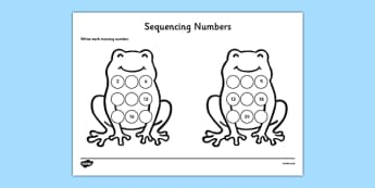 Sequencing Numbers Frog Activity Sheet - CfE, numeracy, number sequencing, worksheet