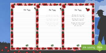 Red Poppy Handwriting Poem - New Zealand, Anzac Day, 25 April, ANZAC, Poppies, World War 1, World War 2, Gallipoli, Red Poppy, Ha