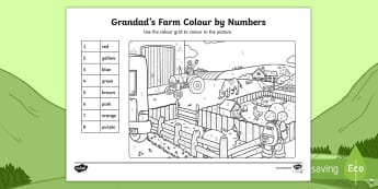 Grandad's Farm Colour by Numbers Activity Sheet - ROI, Grandad's Farm, on the farm, 0-10, farm animals, number recognition, Aistear, Story, Maths, Ac