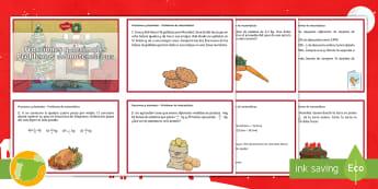 Tarjetas de desafío de matemáticas: Fracciones y decimales - matemáticas, primaria, colegio, escuela, profesores, recursos, materiales, problemas, navidad,Spani