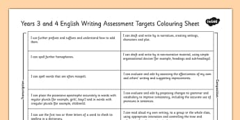 2014 Curriculum LKS2 Years 3 and 4 Writing Assessment Target Sheet