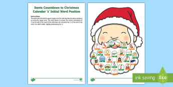Santa Countdown to Christmas Calendar 's' Initial Word Position Activity Sheet - speech, beginning, start, words starting with s, carry over practice, sentence work, SEN, Worksheet