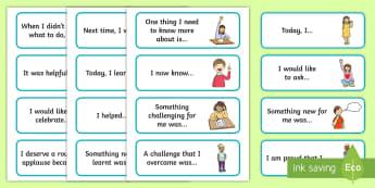 F-2 Reflection Sentence Starter Cards - sentence starters, reflection, reflect, learning, Foundation, Yr 1, Yr 2,Australia