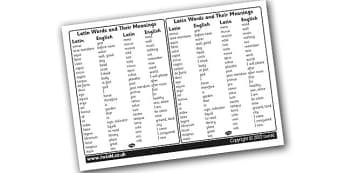 Latin Words and Their Meanings Visual Aid - latin, latin words, latin word list, latin word meanings, latin dictionary, latin translation, ks2 history