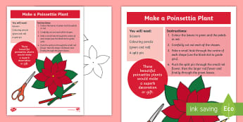 KS1 Poinsettia Activity Sheet - worksheet, christmas, flower, tradition, traditional, craft, decoration, cutting, make, fine motor