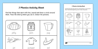 j Phonics Worksheet / Activity Sheet-Irish, worksheet